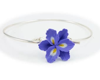 Purple Freesia Bracelet Sterling Silver Bangle - Freesia Jewelry