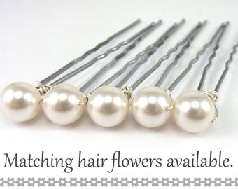White Pearl Hair Pins - 8mm White Swarovski Pearls (5 qty) - FLAT RATE SHIPPING