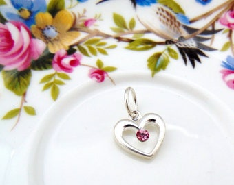 Silver (6 Pieces) HEART Charm / Pendant Swarovski Crystal Pink