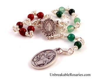 St Dymphna Gemstone Rosary Chaplet w Italian Relic Medal Patron of Stress, Anxiety, Mental Health Wire Wrapped by Unbreakable Rosaries