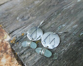 Sea Glass and Pine Tree Earrings