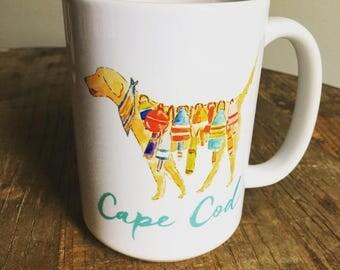 Cape cod buoys yellow dog labrador dog Coffee company graphic art MUG 15 oz ceramic coffee mug