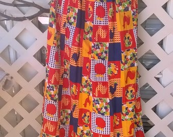 Vintage Maxi Skirt, Country Patchwork print, 60s Folk Era, waist 26, Rooster, Patchwork, Calico Print