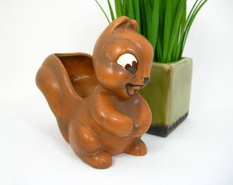 Norcrest Brown Squirrel Planter - Vintage Collectible / Home Decor - Kitsch Forest Animal - Anthropomorphic Big Eyes - For Succulent Plants