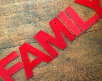 We Are Family... Vintage Signage Letters FAMILY Industrial Farmhouse Decor Wall Hanging Artwork