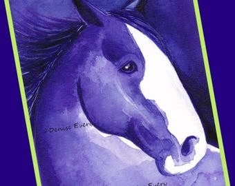 Clydesdale Draft Horse in Purple Horse Print Equine Art Clydesdale Horse Lover Gift Clydesdale Gift Draft Horse Gift Horse ACEO Horse Art