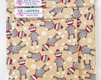 Snack Bags SOCK MONKEYS Re-Usable Washable with Closure Options