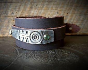 Silver Stamping, Tribal Bracelet, Leather Cuff, Tribal, Rustic, Organic, Primitive, Rhinestone, Artisan Made, Cuff Bracelet
