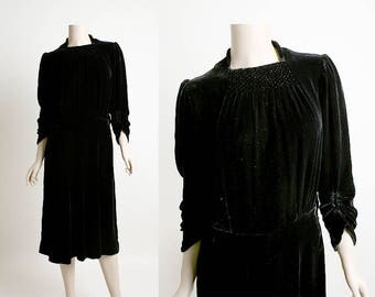 Vintage 1930s Velvet Dress - Black Silk Velvet Formal Dress - Gathered Sleeves and Waffle Pattern Neckline Yoke - Small Medium