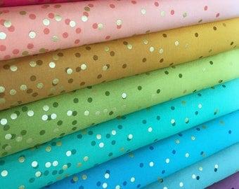Ombre Confetti fabric by Vanessa Christenson, Gold Metallic Decor, Wedding fabric, Quilting, B Bundle of 8 fabrics, Choose the Cuts
