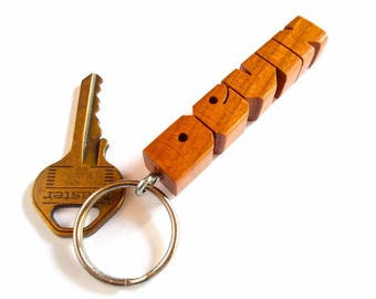 DEVIN - Sample Name Keychain in Cherry Wood