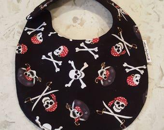 Skull & Crossbones Pirate Baby Toddler Bib, Halloween special