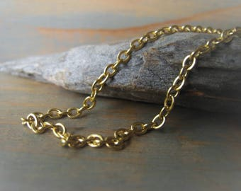 Gold Cable Chain Chain Oxidized Brass Cable Chain 2x3 Chain Necklace Item No. 8030