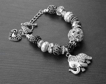 Charm Bracelet, Elephant Charm, Beaded Charm Bracelet, European Charm Bracelet, Silver Charm Bracelet, Black, Lucky Elephant Charm Bracelet
