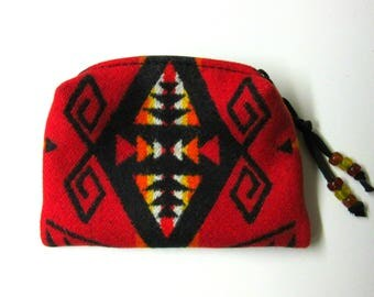Zippered Pouch Cosmetic Bag Accessory Organizer Change Purse Coin Pouch Southwest Wool