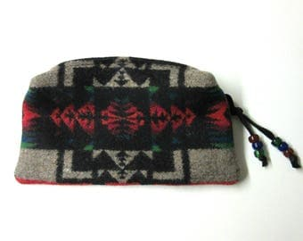 Wool Zippered Pouch Change Purse Coin Pouch Organizer Cosmetic Bag Clutch Accessory Bag Native American Print