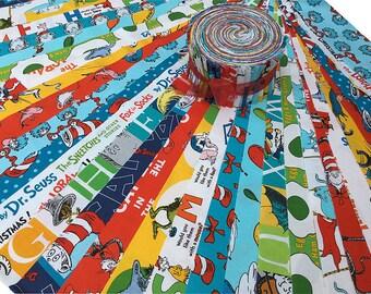 "Kaufman DR. SEUSS Strip Roll 2.5"" Precut Fabric Quilting Cotton Strips Jelly Roll"