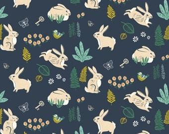 "Fat Quarter #FQ216 Birch Fabrics Hidden Bunny Hop Dusk Poplin MI-13-DUSK ORGANIC Precut 18""x22"" Fabric by Miriam Bos"