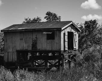 Louisiana Photography, Bayou Boathouse Print, Gulf Coast, Cajun Decor, Black and White Louisiana Print, Fishing Village, Fisherman Gift
