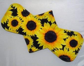 "12.5"" Regular - Bright Sunflowers - Reusable Cloth Menstrual Pad (12MC)"