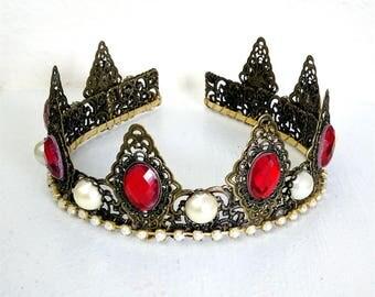 Renaissance Tiara, Crown, Medieval, Renaissance Jewelry, Tudor, Headpiece, Headdress, Renaissance Crown, Antiqued Brass & Red, Ready 2 Ship