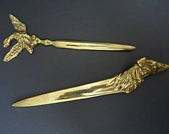 2 Virginia Metalcrafters Brass Letter Opener Dog Eagle Pair