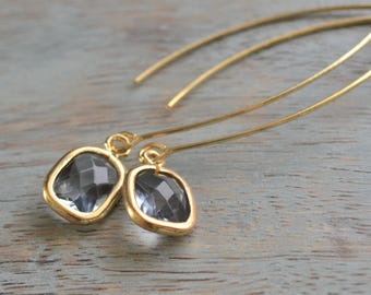 Grey Glass Earrings, Gray and Gold, Smokey Grey Earrings, Grey Wedding Jewelry, Long Dangle Earrings, Bridesmaid Earrings, Gift for Her