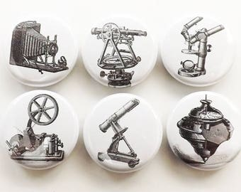 Tools Refrigerator Magnet Gift Set vintage camera microscope science steampunk old time locker decoration fridge party favors button pins