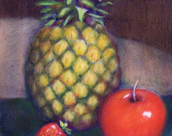 "Original Watercolor & Colored Pencil Painting - Fruit Still Life - Pineapple, Apple, Strawberries - With Double Mat 11""x14"" - Wall Art"