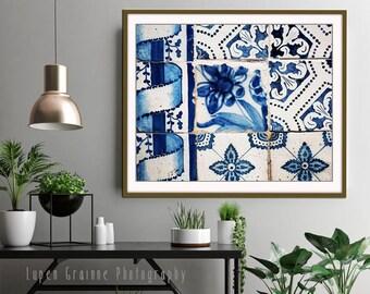 Blue and white wall art, Lisbon Portugal tiles print, fine art photograph - Lisbon Tiles One