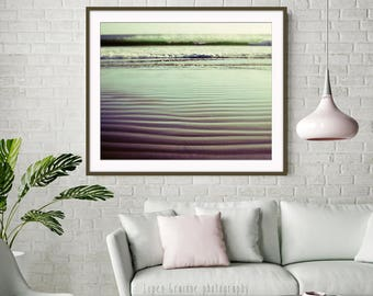 "Beach Photography - Jade Green Wall Art - California Ocean Wave Print - Sand Ripples - Minimal Beach Wall Art  ""Ebb and Flow"""
