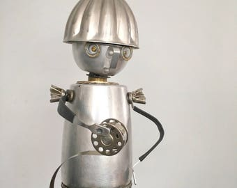 Found Object Art Recycled Robot Assemblage Sculpture One Of A Kind Film Director Darcy
