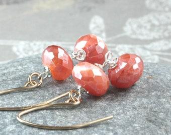 Carnelian Earrings Sterling Silver Mixed Metal Gemstone Jewelry Orange  Earrings Gem Jewelry Stone Jewellery July Birthstone Jewelry