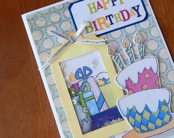 Handmade Birthday Card: shaker card, greeting card, candles, cake, gifts, multi color, complete card, handmade, balsampondsdesign