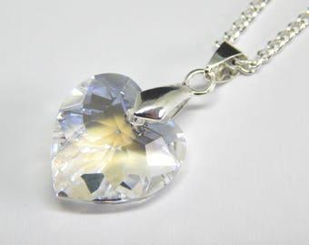 White Crystal Heart Necklace - Crystal Moonlight Necklace - Swarovski Elements - Pale Grey Blue Crystal Heart Necklace - Clear Heart Pendant