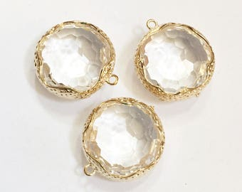 2 Clear glass faceted flat round pendant with brass frame, Clear glass pendant 22x20mm, gold plated brass framed glass pendant