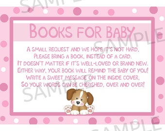 24 Books For Baby Insert Cards -  Baby Shower Cards - Bring a Book Instead of a Card - Pink Puppy Dog Baby Shower