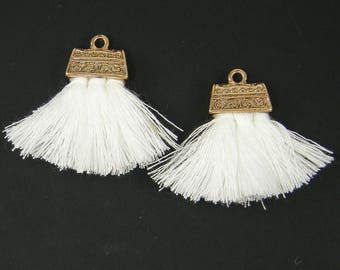 White Tassel Earring Findings, Brush Earring Dangles Amber Fringe Earring Findings White Tassel Thread Earring Jewelry Supply |WH2-9|2