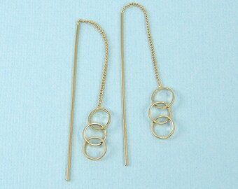 Gold Ear Threads, Triple Circle Ear Threader Earring Findings |G11-15|2