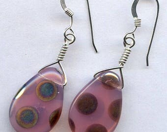 Pink Peacock Teardrop Sterling Silver Earrings