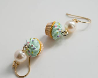 Green Cupcakes Gold Plated Earrings. Kawaii Sweet Miniature Dessert Ear Jewellery, Lovely Mini cakes. For Her. Birthday Gift