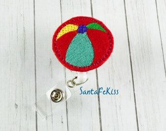 Summer Beach Ball Badge Holder with Retractable Embroidered Felt Badge Reel - Medical Badge Holder