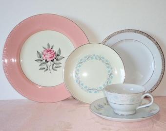 Mismatched Place Setting 5 Pc Platinum Pink Blue Floral Elegant Vintage Mismatch China Plates Dinner Salad Dessert Cup Saucer