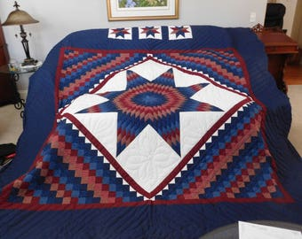King size, Amish Pattern, Hand quilted - Star N Common Quilt
