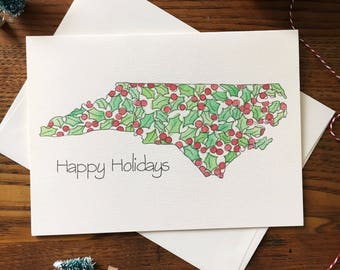 North Carolina Card. NC Christmas Card. Holly Card. Happy Holidays. Holly Berries Card. Single Card. Blank Card. Non-Religious Card
