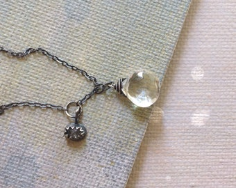 Rock Crystal Necklace - Herkimer Diamond Necklace - April Necklace - Teardrop Necklace - Oxidized Sterling Silver Necklace - Dainty Necklace