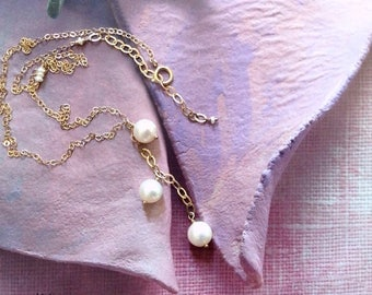 Gold Pearl Necklace - Japanese Akoya Pearl Necklace -  Natural White Pearl Necklace - Dainty Gold Necklace - Gold Y Necklace - June Necklace