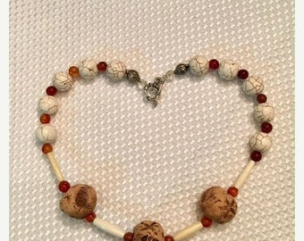 JULY SALE EVENT Hand Crafted Beaded Necklace - Hand Made Clay Beads - Summer Jewelry - Summer Jewelry