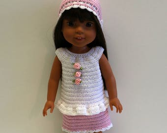 Instant Download - PDF Crochet Pattern 4 - Doll clothes - Top, Skirt and Hat. Fits Wellie Wishers and similar dolls.