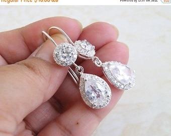 Summer Sale Bridal Earrings Pear CZ Teardrop Dangle Hook CNEP1